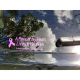 "Window Decal - Piece of my Heart Lives in Heaven - 3"" x 8"" - HeroinSupport.org"