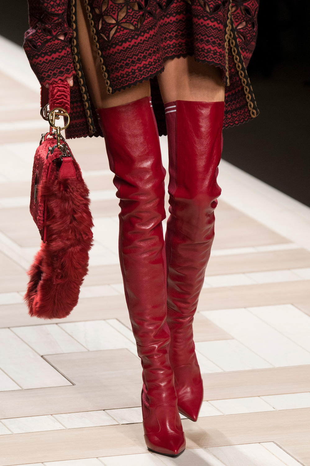 5670f2c4df9 FENDI Red Leather Cuissard Rockoko Thigh High Stretch Sock Boots ...