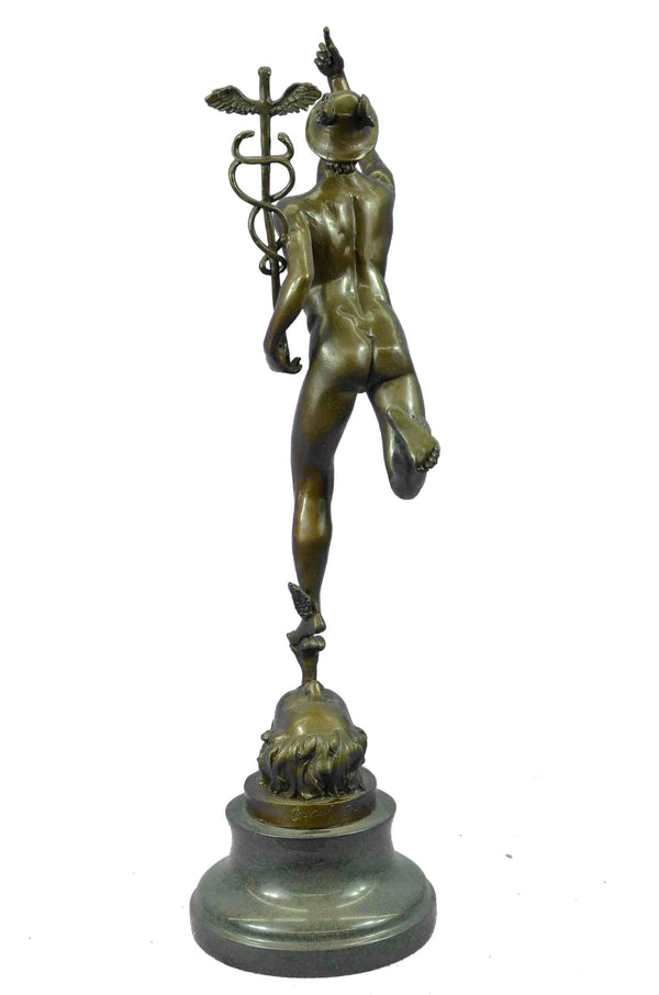 GIAMBOLOGNA NUDE FLYING MERCURY BROWN PATINA BRONZE STATUE ON MARBLE BASE LARGE
