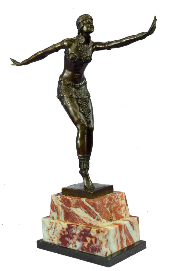 Handmade FAETALLIANA PHOENICIAN DANCER BRONZE STATUE SCULPTURE MARBLE FIGURE
