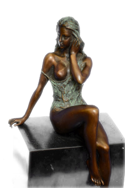 Special Patina Sexy Nude Erotic Woman Bronze Sculpture by Italian Artist Mavchi