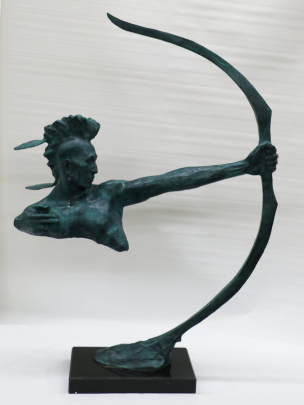 Signed Original Limited Edition Mario Nick Indian Archer Bronze Sculpture