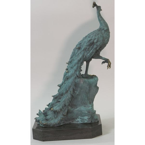 "Green Bronze Peacock Bird Sculpture Statue Decor Outdoor Indoor Original Art 19.5"" x 12"""