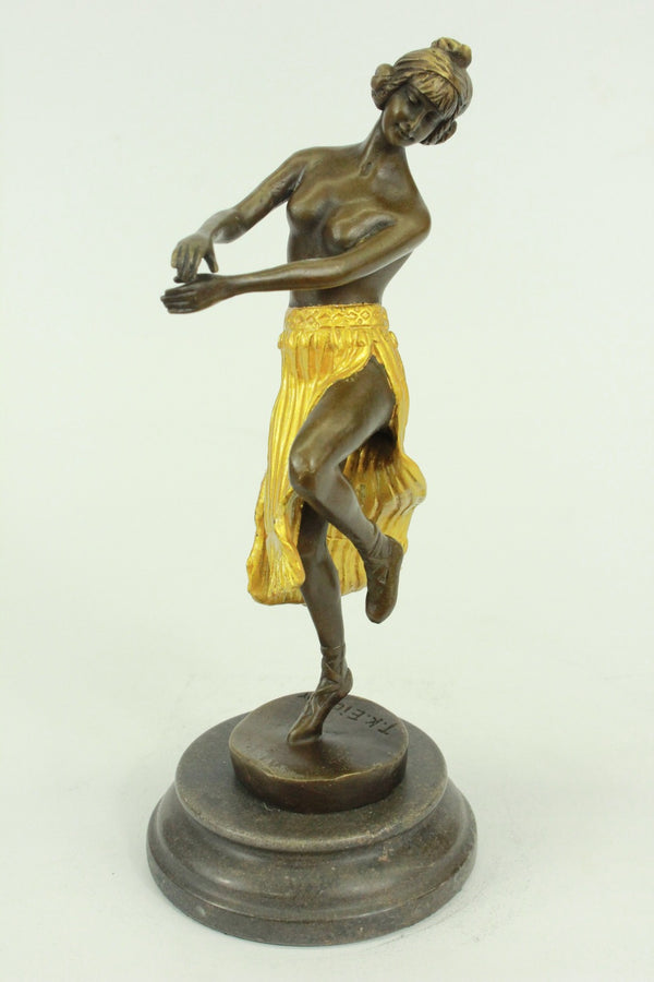 "Topless Hula or Belly Dancer Figure Bronze Sculpture 10"" x 4"" (Gold Accents)"