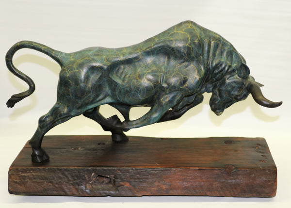 Large Special Patina Stock Market Bull With Natural Wood Base Bronze Sculpture