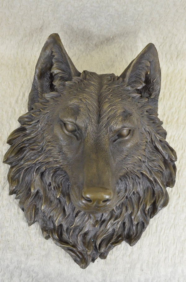 Large Miguel Lopez Wall Mount Wolf Head Bust Cabin Decor Bronze Sculpture Statue