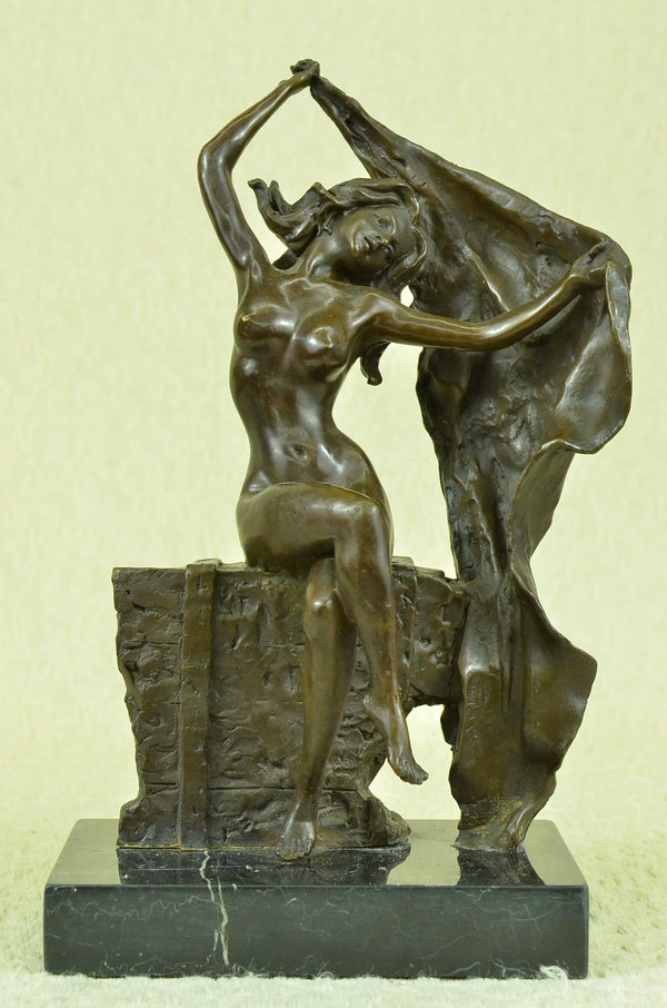 Bronze Statue Sculpture Sexy Lady Art Nouveau Deco Lost Wax Home Decor Figurine