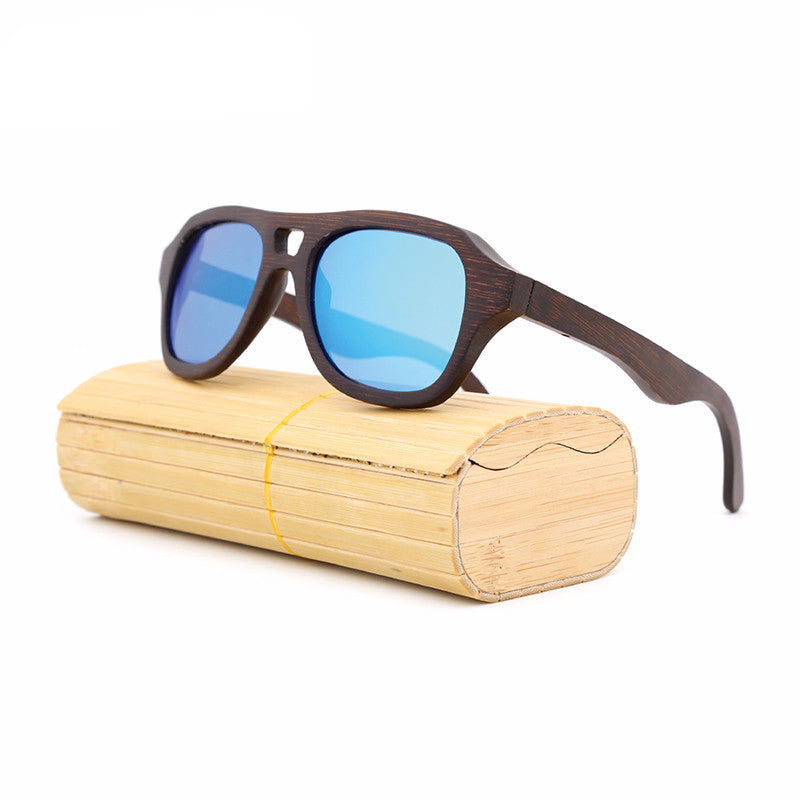 Pilot Bamboo Wooden Polarized Sunglasses with Case
