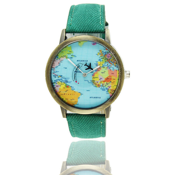 Luxury World Map Travel Airplane Watch