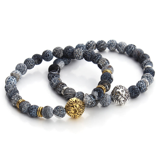 Lion Head Natural Agate Buddha Bracelet