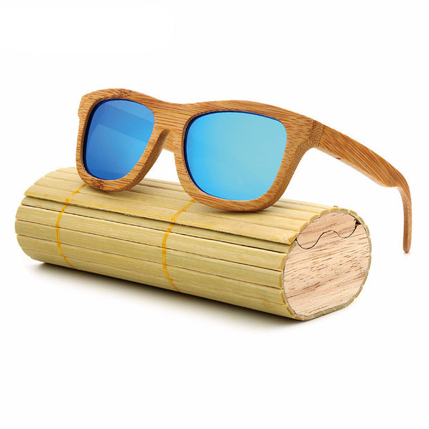 Vintage Bamboo Wooden Polarized Sunglasses with Case