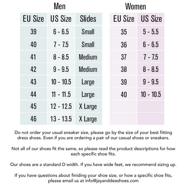 Men's Dress Shoes Size Guide