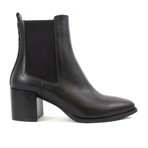 The Isabella Leather Booties in Black