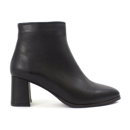 The Eva Leather Booties in Black