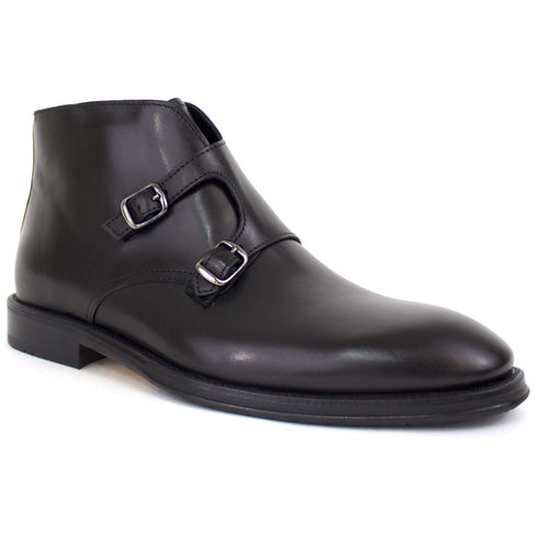 The Bentley Double-Monk Strap Dress Boot in Black