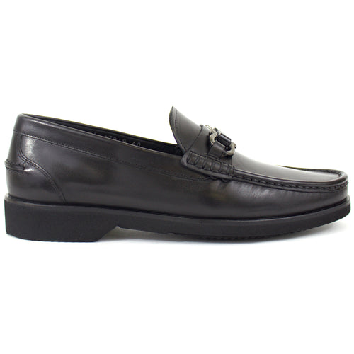 The Levi Leather Loafer in Black (With Buckle)