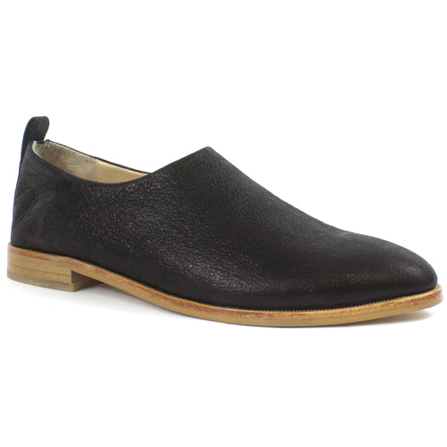 The Heather Full Cut Leather Slip On in Black