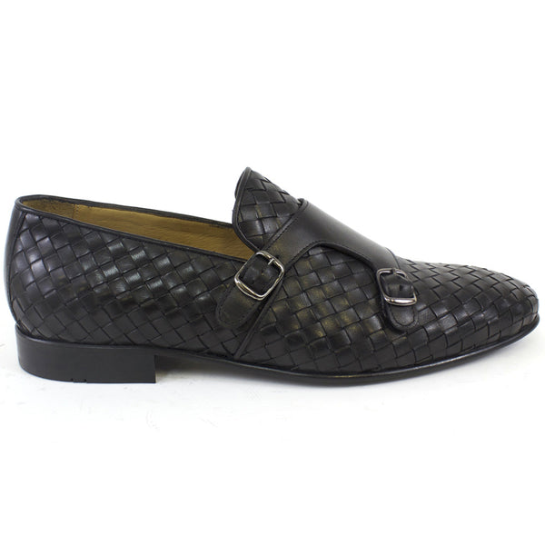 Black Double monk strap dress shoe