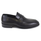 Black leather loafer dress shoe