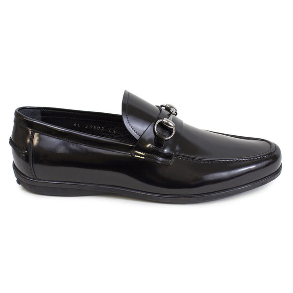 Black patent leather loafer with buckle