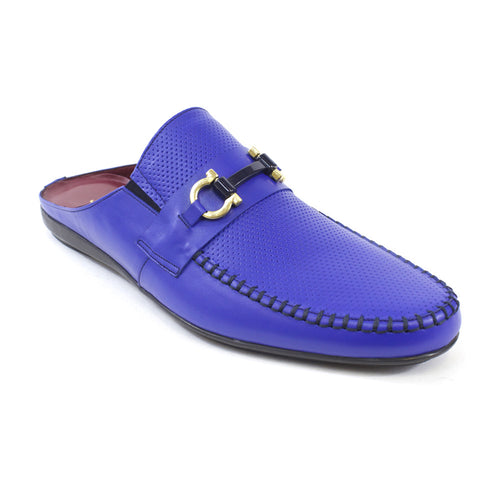 Blue leather Slides for men
