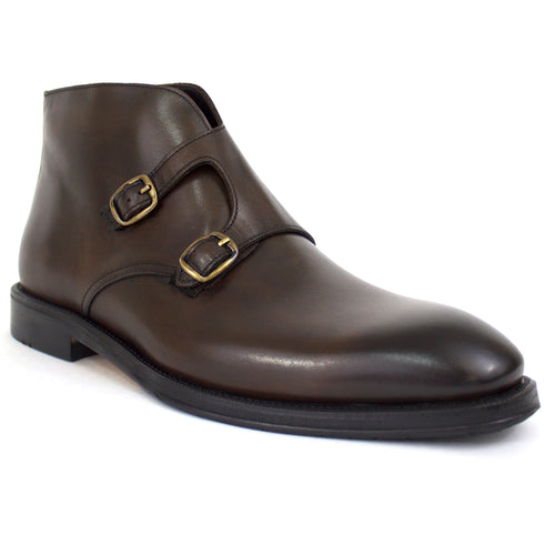 The Bentley Double-Monk Strap Dress Boot in Brown