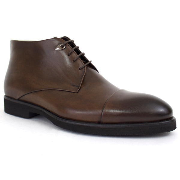 The Cooper Cap Toe Dress Boot In Brown