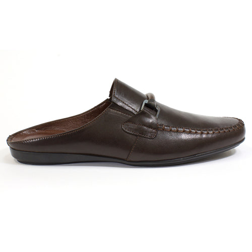 brown leather slippers
