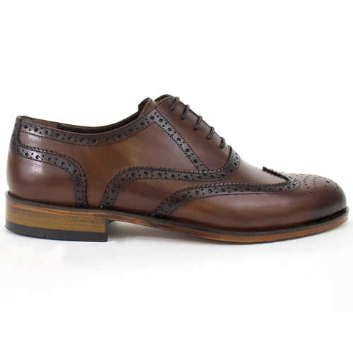 The Wade Leather Wingtip Dress Shoes In Brown