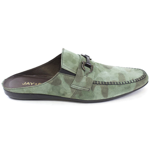 Green Suede Slides for men