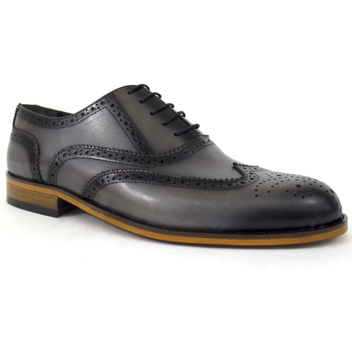 The Wade Leather Wingtip Dress Shoes In Grey