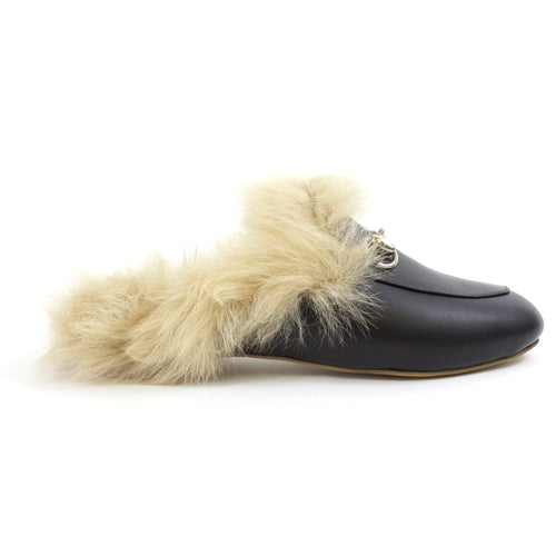 The Sophia Furry Leather Mules in Black
