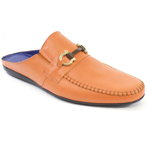 Orange leather Slides for men