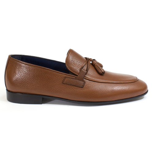 The Theo Tassel Leather Loafer in Tobacco