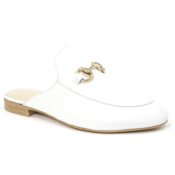 The Sophia Leather Mules in White