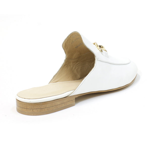 white leather slides womens