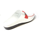 The J. Stewart Leather Slides in White (Red Trim)