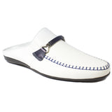 The J. Stewart Leather Slides in White (Navy Trim)