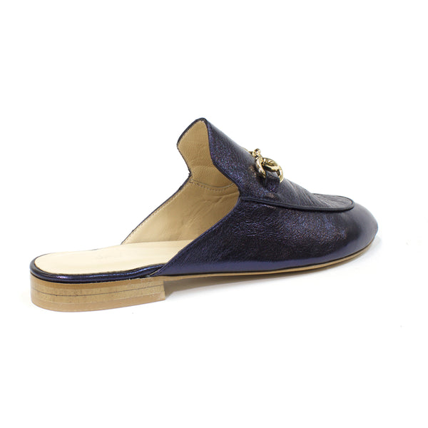 navy leather slides womens