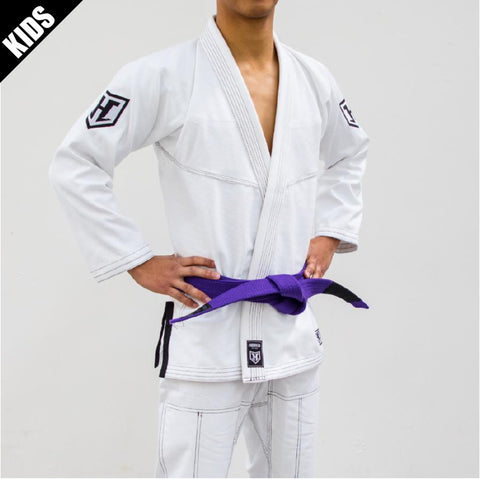 Kids Prolight BJJ Gi - Classic White w/ Black includes Belt
