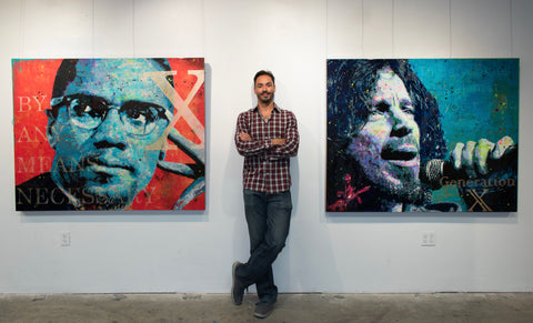 Chris Cornell and Malcolm X commission paintings by Brandon Jameson for Marci of San Diego, California