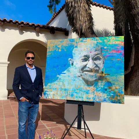 Gandhi Painting wall art large scale Artist Brandon Jameson