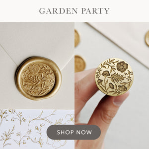 Garden Party floral illustrated wax seal stamp design for wedding stationery.