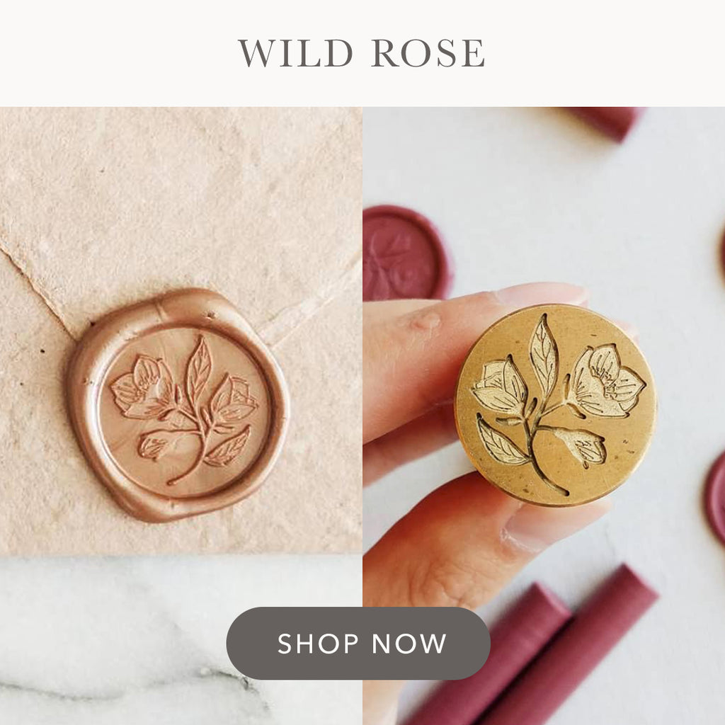 Wild Rose floral illustrated wax seal stamp design for wedding stationery.
