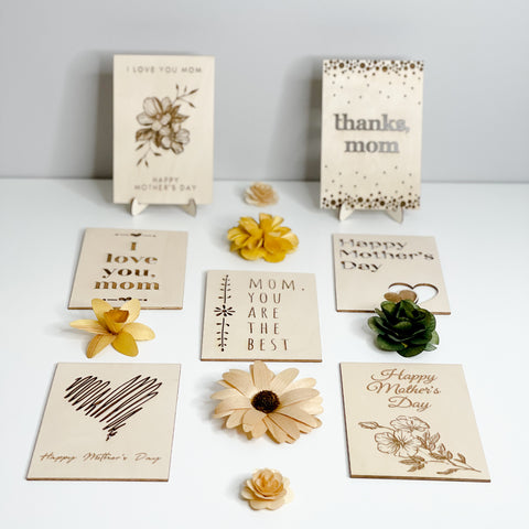 Wooden Mother's Day Cards custom message engraved