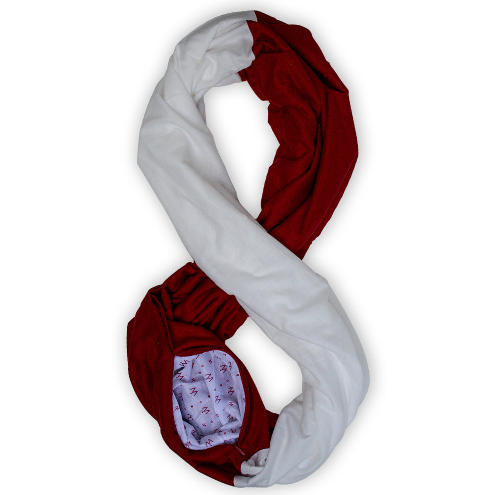 STADIUM Series Travel Scarf // Crimson & White