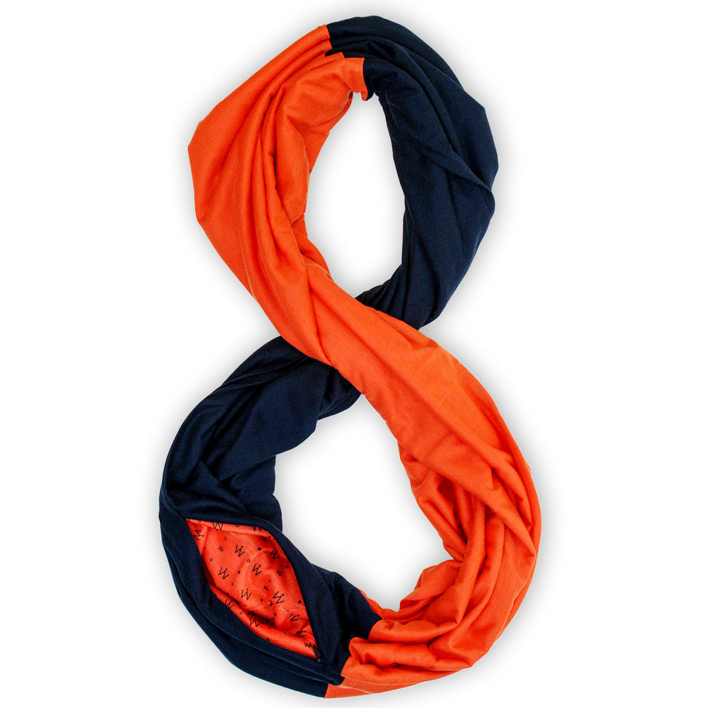 STADIUM Series Travel Scarf // Navy & Orange
