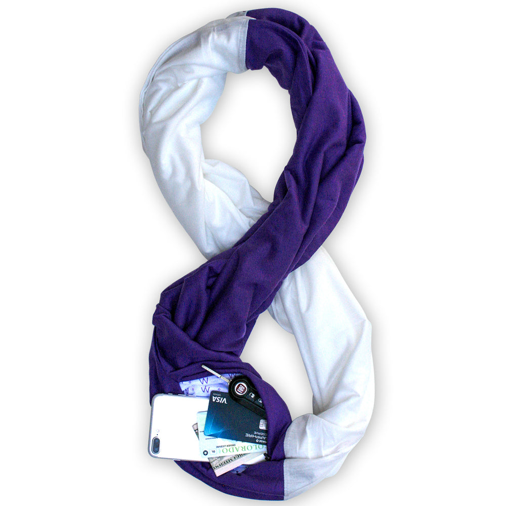 STADIUM Series Travel Scarf // Purple & White