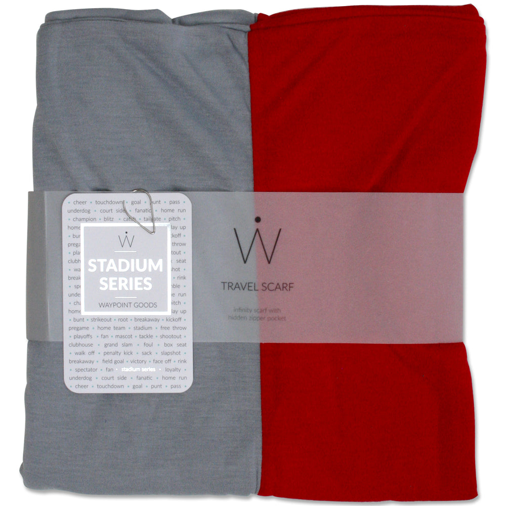 STADIUM Series Travel Scarf // Red & Grey