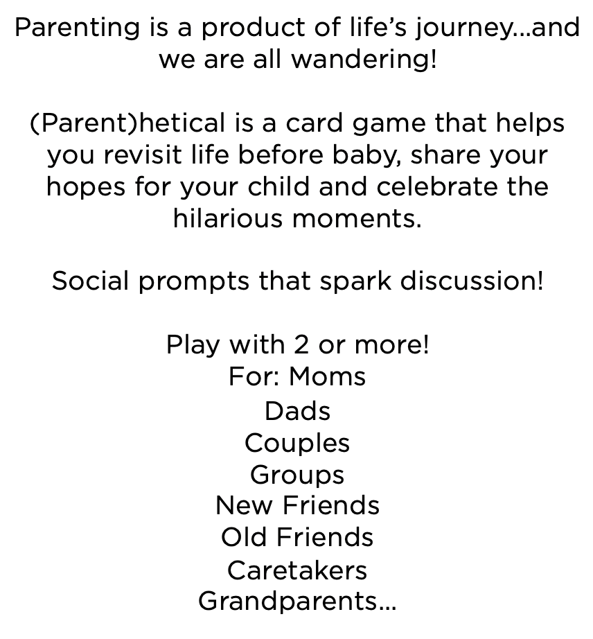 Miles and Milan (Parent)hetical : A New Social Card Game For Parents